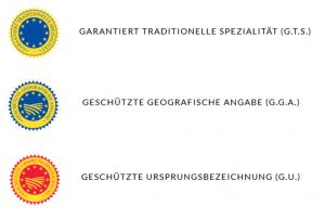 Qualitätssiegel EU g.t.S., g.U. und g.g.A.